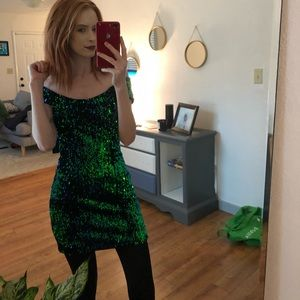 Forever21 Green sequin mini dress!